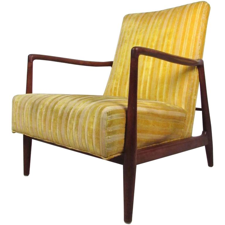 this mid century modern danish style walnut lounge chair is no longer