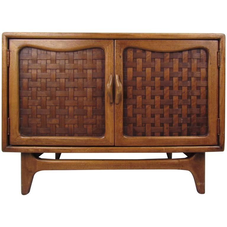 Delicieux Mid Century Modern Basket Weave Cabinet By Warren Church For Lane For Sale