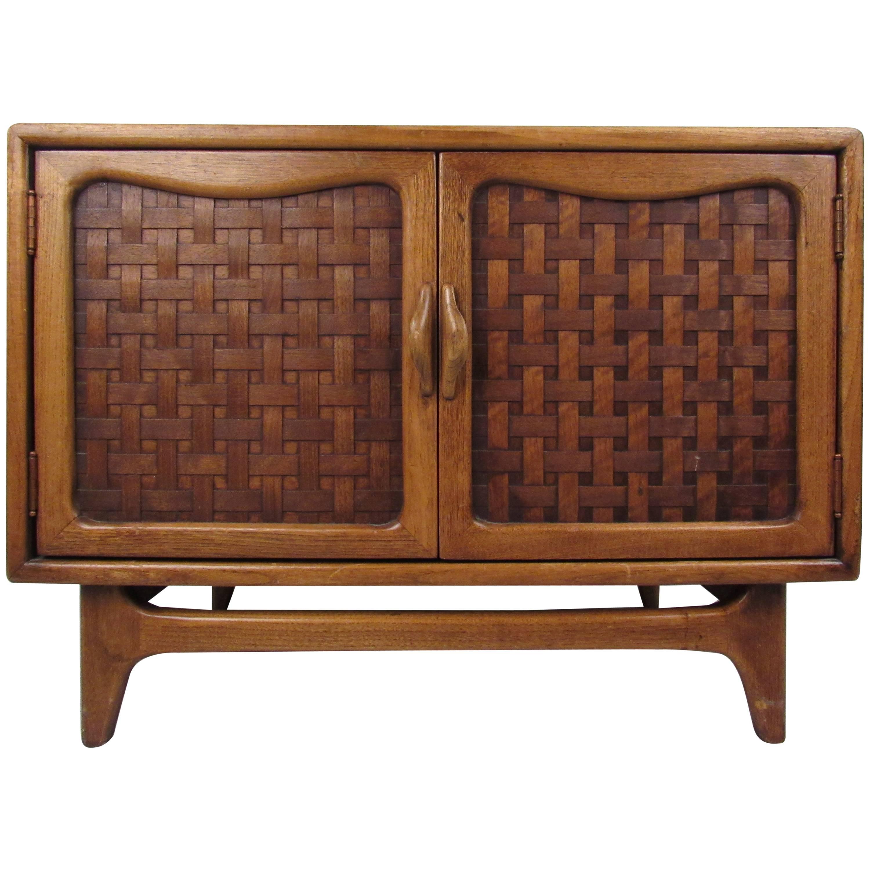 Mid Century Modern Basket Weave Cabinet By Warren Church For Lane