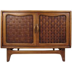 Mid-Century Modern Basket Weave Cabinet by Warren Church for Lane
