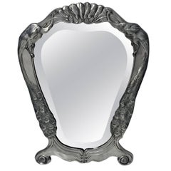 Friedrich Adler Art Nouveau Jugendstil Pewter Mirror