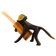Austrian Toothpick Holder, Displaying a Monkey. Design by Walter Bosse