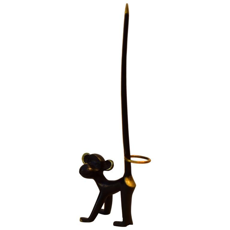 Walter Bosse Brass Monkey Figurine Pretzel Holder, Ring Holder