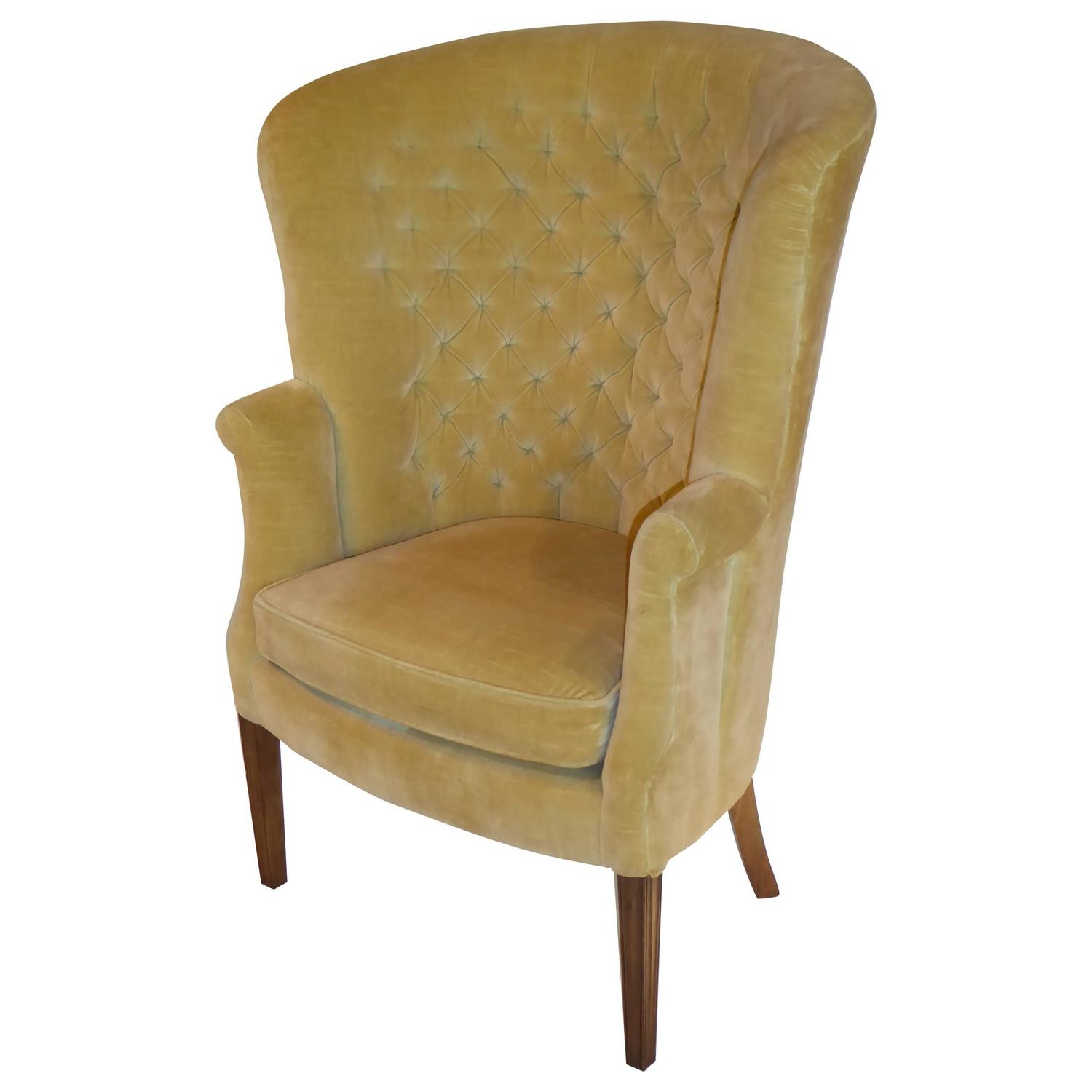 Architectural high back tufted velvet wingback chair for for How to make a wingback chair