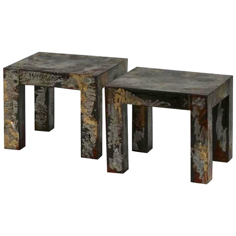 Pair of Brutalist Style Patinated Metal Side Tables