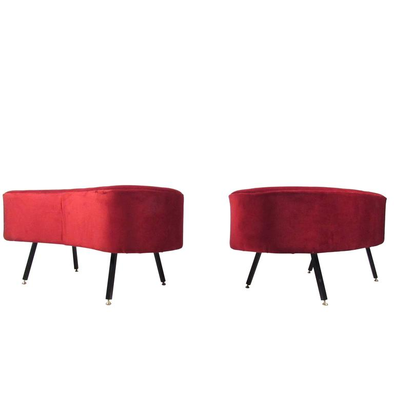 Mid-Century Style Kidney Shaped Ottoman or Stool