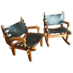 Pair of Angel Pazmino Sling Rocker and Lounge Chair for Meubles de Estilo