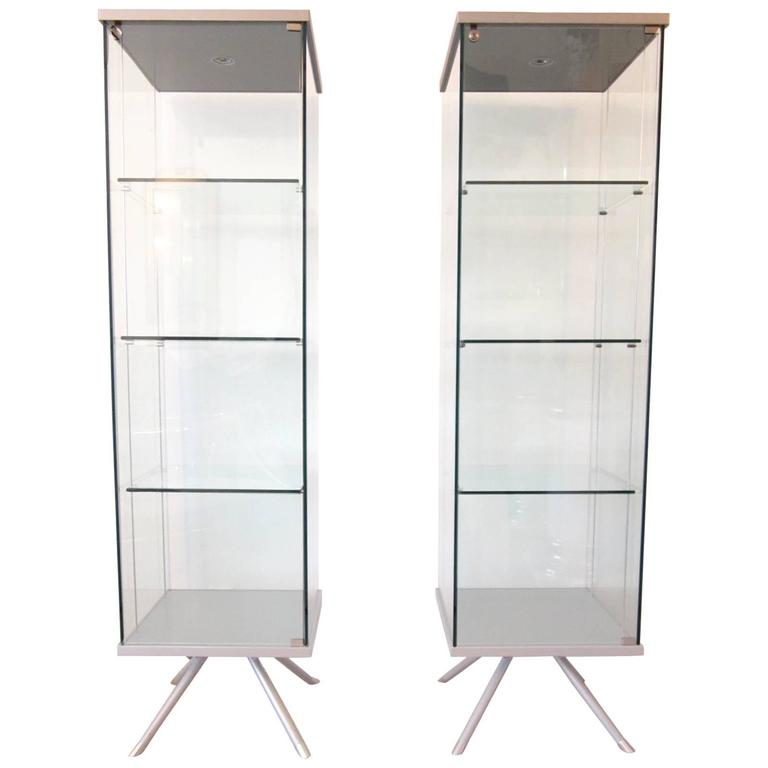 Pair of Italian Glass and Metal Lighted Vitrines with Suspended ...