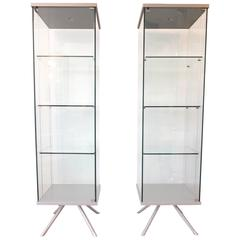 Pair of Italian Glass and Metal Lighted Vitrines with Suspended Glass Shelves