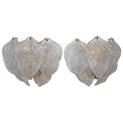 Murano Italian Rugiadoso Glass Leaf Wall Sconces