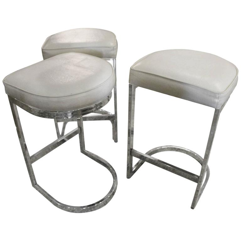 Set Of 3 Chrome Cantilever Bar Stools Milo Baughman Mid