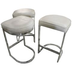 Set of Chrome Cantilever Bar Stools Milo Baughman Mid-Century Modern Counter