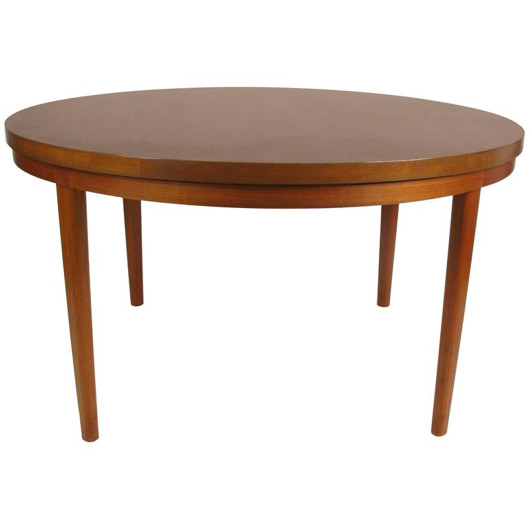 Rare danish teak flip flap dining table by dyrlund at for Table exit fly