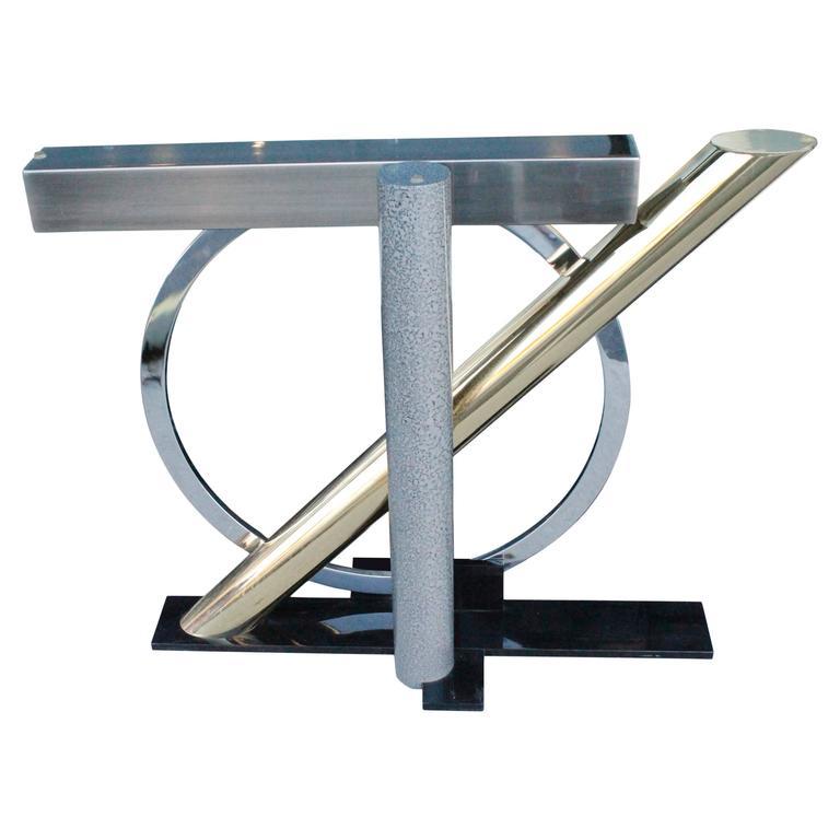 Kaizo Oto for Design Institute America Geometric Brass and Chrome Console Table