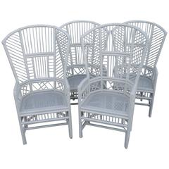 Set of Four Brighton Pavilion High Back Rattan Chinese Chippendale Club Chairs