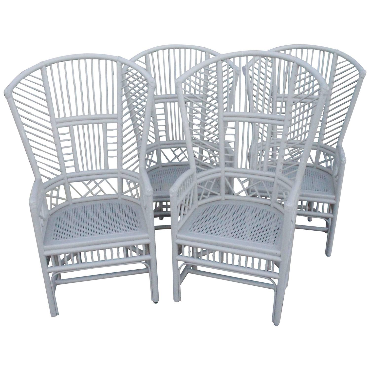 Superb Set Of Four Brighton Pavilion High Back Rattan Chinese Chippendale Club  Chairs For Sale At 1stdibs