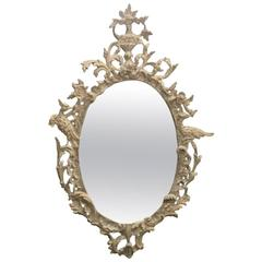 White Washed over Silver Leaf Carved Oval Mirror