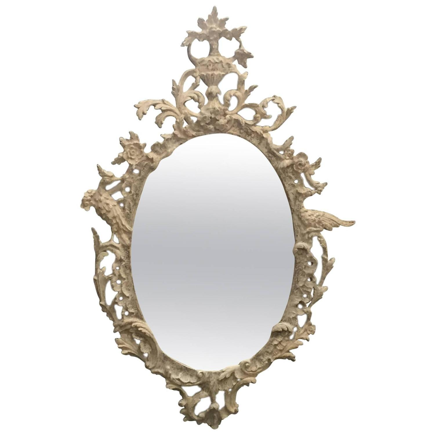 White washed over silver leaf carved oval mirror for sale for Silver mirrors for sale