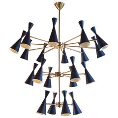 Massive 3-Tier 'Monolith' Enamel and Brass Chandelier by Blueprint Lighting 2016
