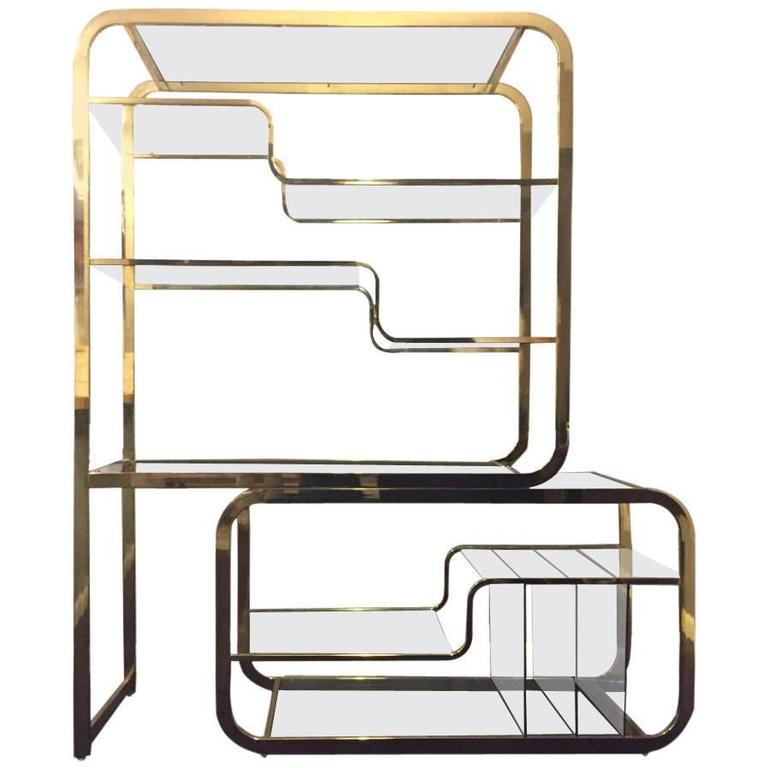 Brass Milo Baughman for DIA Expandable Etagere Design
