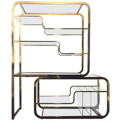 Brass Milo Baughman for DIA Expandable Etagere Design Institute of America
