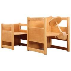 Scandinavian Reversable Table and Chair for Children, Designed by Kay Bojesen