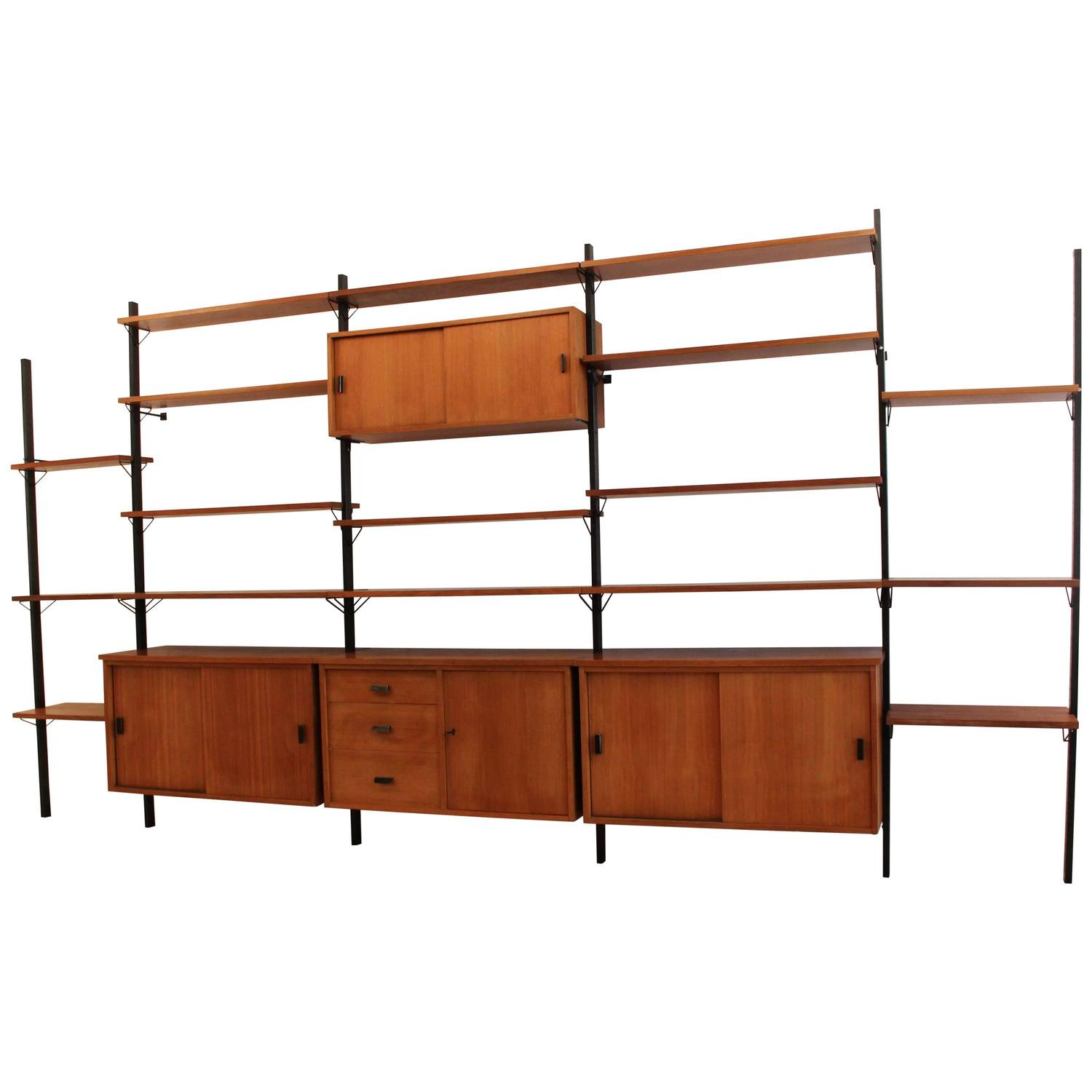 Mid Century Modern Wall Unit Shelving System Pira Sweden 1960 at