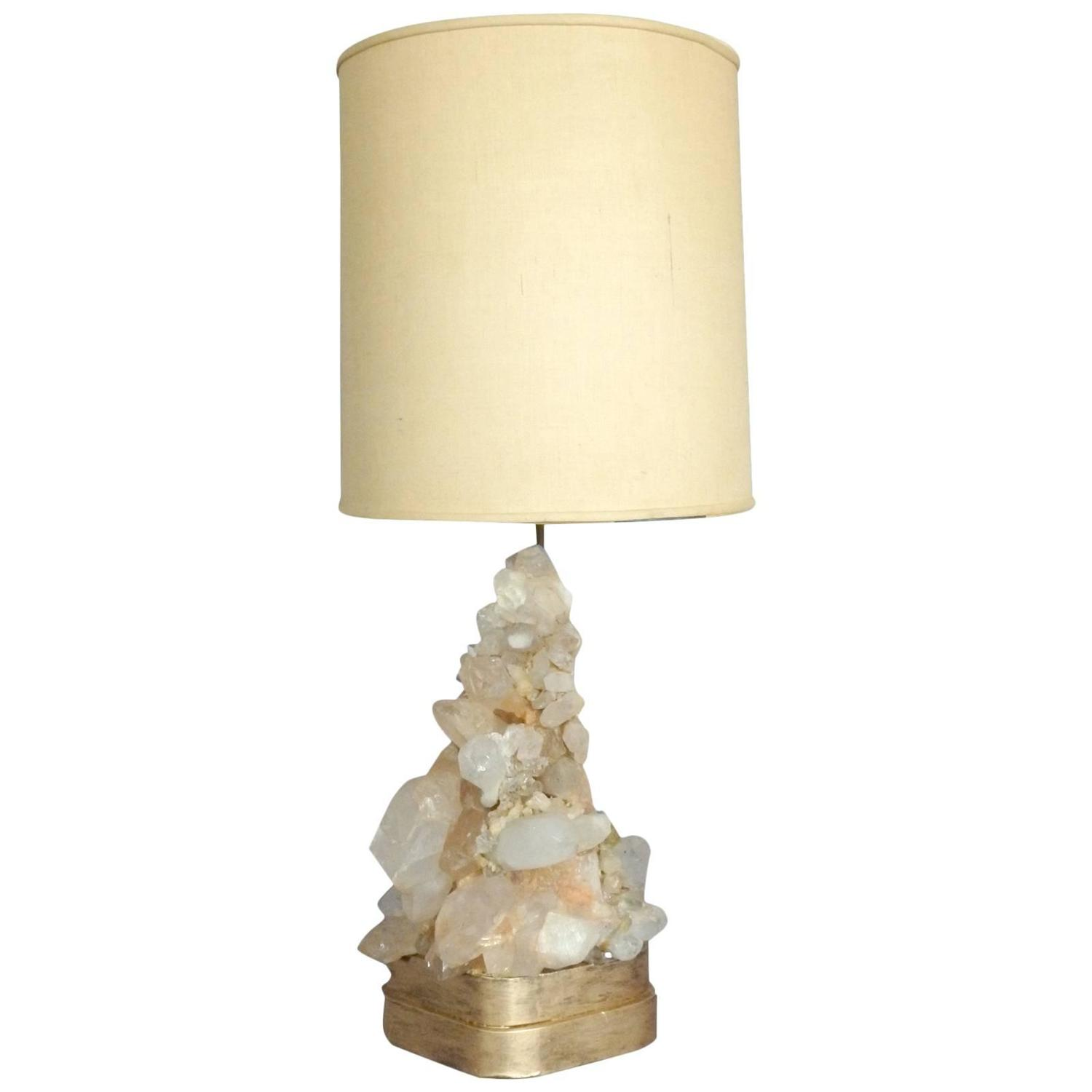 carole stupell rock quartz crystal table lamp at 1stdibs. Black Bedroom Furniture Sets. Home Design Ideas