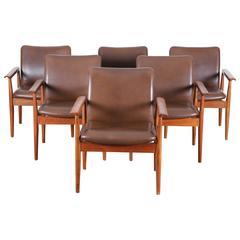 Mid-Century Modern Scandinavian Set of Six Diplomat Armchairs by Finn Juhl