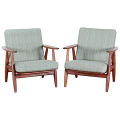 "Danish Mid-Century Modern Pair of ""Cigar Chairs"" GE-240"