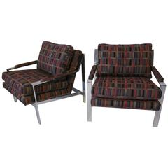 Milo Baughman Chromed Framed Lounge Chairs