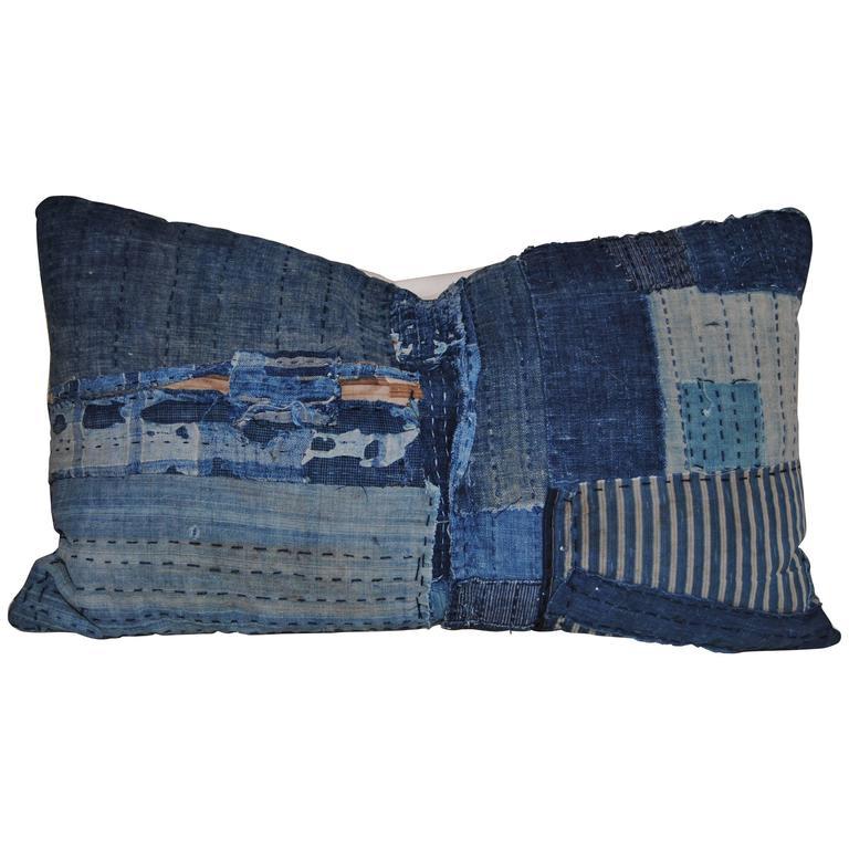 Japanese Antique Indigo Hand Loomed Cotton Boro Pillow with Sashiko Stitching