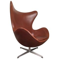 Early Arne Jacobsen Egg Chair in Original Brown Leather by Fritz Hansen