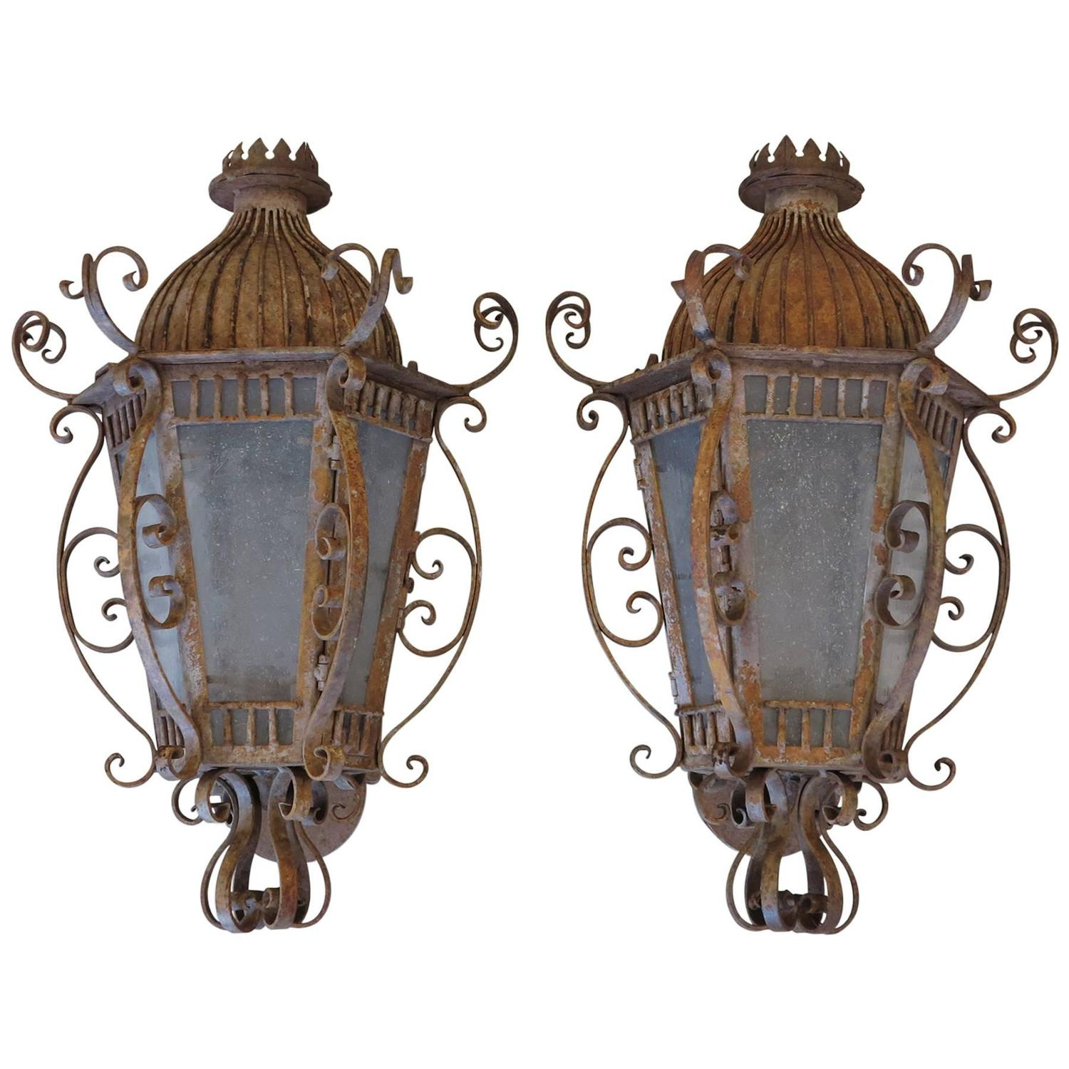 Wall Sconces Iron : Wrought Iron Outdoor Wall Sconces at 1stdibs