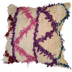 Custom Pillow Cut from a Vintage Hand Loomed Wool Beni Ourain Moroccan Rug