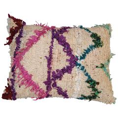 Custom Pillow Cut from a Vintage Hand Loomed Wool Moroccan Beni Ourain Rug