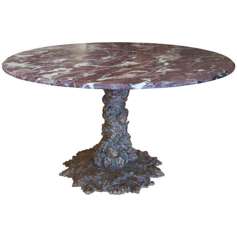 Italian Hand Carved Table with Marble Top 1