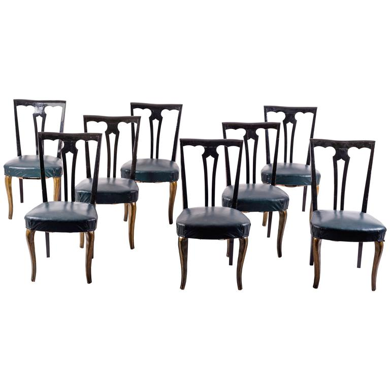 Set Of Eight Italian Midcentury Painted Dining Room Chairs Pierluigi Colli 1940s For