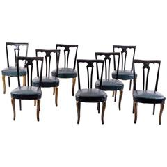 Set of Eight Italian Midcentury Painted Dining Room Chairs PierLuigi Colli 1940s