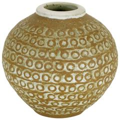 Relief Patterned Earthen Pottery Vase by Tomiya Matsuda