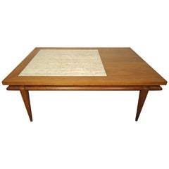 Mid-Century Coffee Table with Marble Insert by John Widdicomb