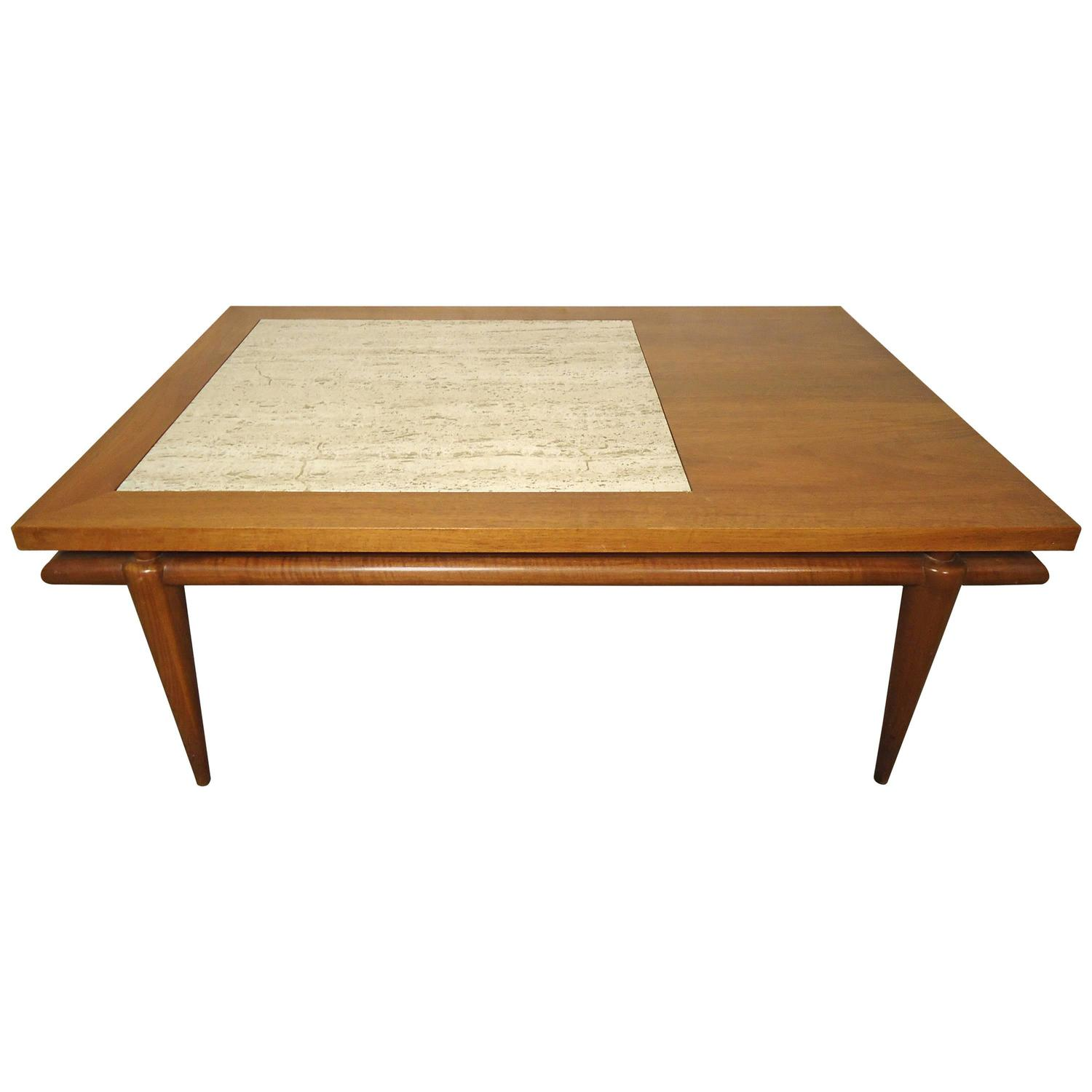 Mid Century Coffee Table With Marble Insert By John Widdicomb