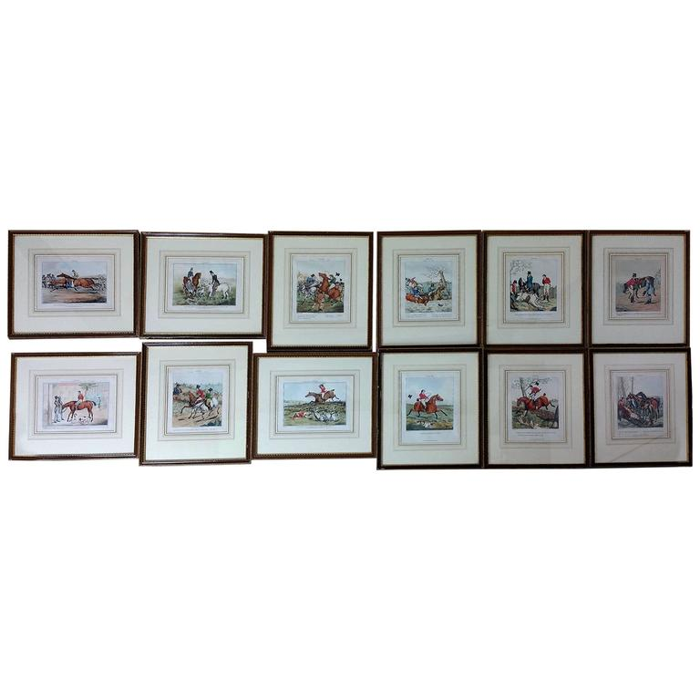 Set of 12 Early 19th Century Hand-Coloured Prints after Henry Alkin