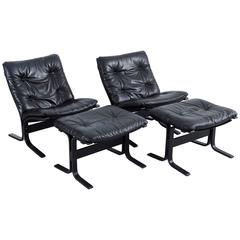 Pair of Westnofa Lounge Chairs and Ottomans by Ingmar Relling