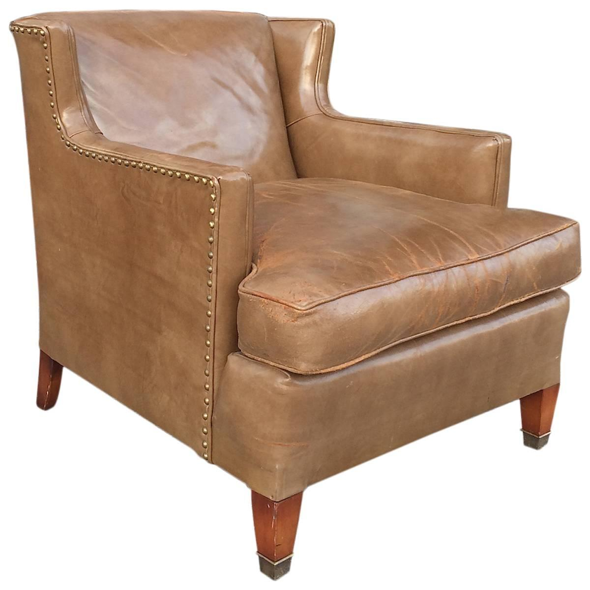 Mid Century Leather Club Chair By Hickory Chair Company NC At 1stdibs