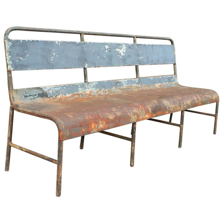 Industrial Painted Steel Navy Ship Bench At 1stdibs