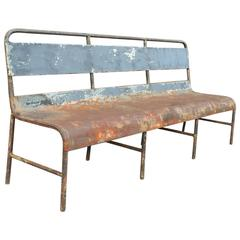 Industrial Painted Steel Navy Ship Benches