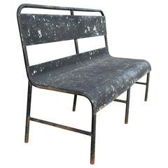 1940s Industrial Painted Steel Navy Ship Bench