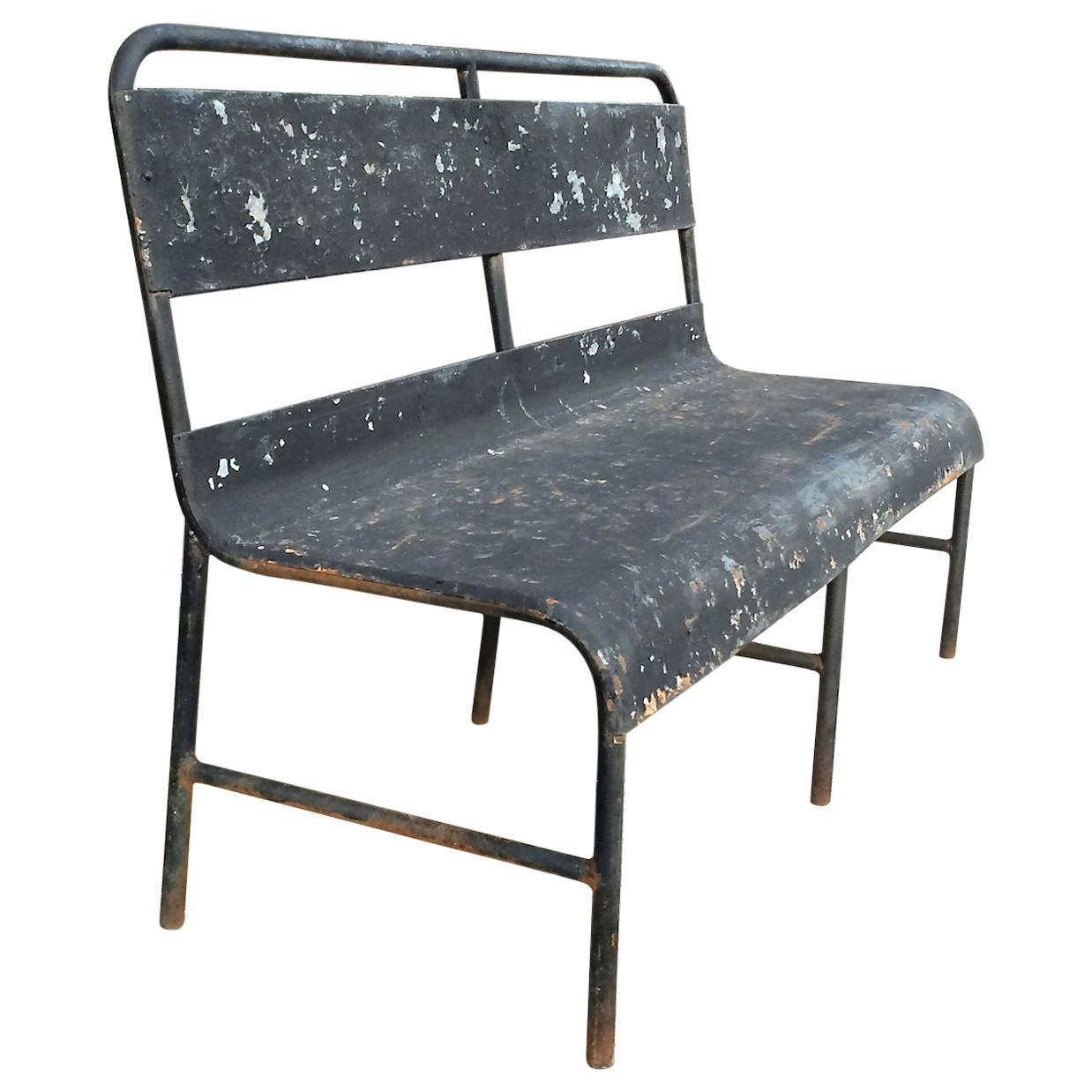 1940s Industrial Painted Steel Navy Ship Bench At 1stdibs