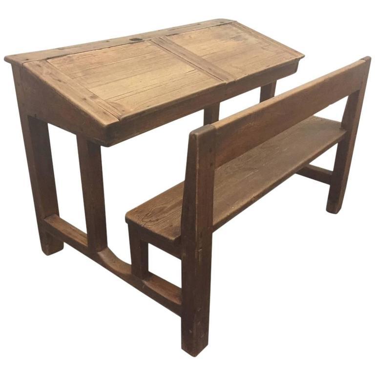 Antique Solid Pine Double School Desk 1 - Antique Solid Pine Double School Desk For Sale At 1stdibs